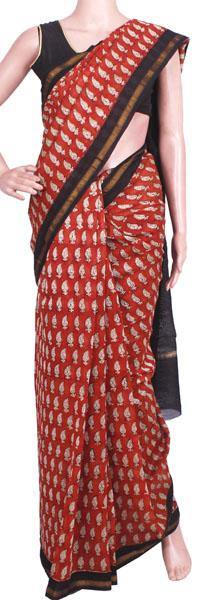 Beautiful Chanderi Silk Saree pattern with Zari Border for all-time use (41079A)
