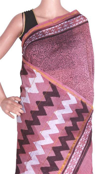 Beautiful Chanderi Silk Saree pattern with Zari Border for all-time use (41082A)