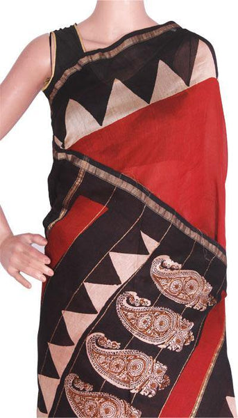 Beautiful Chanderi Silk Saree pattern with Zari Border for all-time use (41085A)