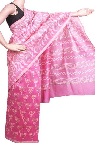 Beautiful Chanderi Silk Saree pattern with Zari Border for all-time use (41086A)