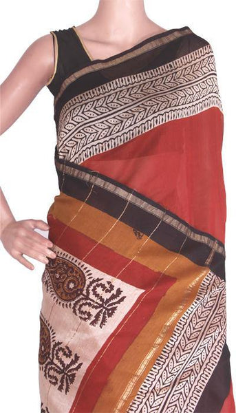 Chanderi Silk Saree pattern with Zari Border for all-time use (41091A)
