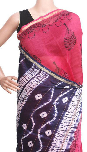 Chanderi Silk Saree pattern with Zari Border for all-time use (41099A), Sarees - Swadeshi Boutique
