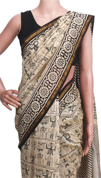 Chanderi Silk Saree pattern with Zari Border for all-time use (41100A), Sarees - Swadeshi Boutique