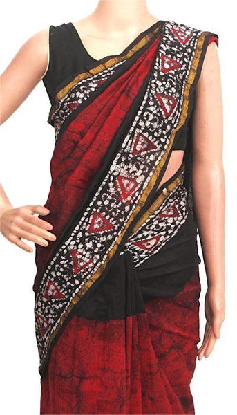 Chanderi Silk Saree pattern with Zari Border for all-time use (41105A), Sarees - Swadeshi Boutique