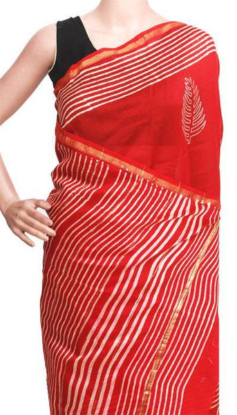 Chanderi Silk Saree pattern with Zari Border for all-time use (41106A), Sarees - Swadeshi Boutique