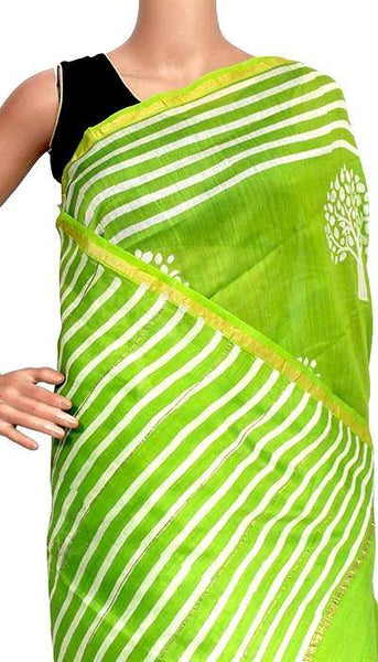 Chanderi Silk Saree pattern with Zari Border for all-time use (41112A), Sarees - Swadeshi Boutique
