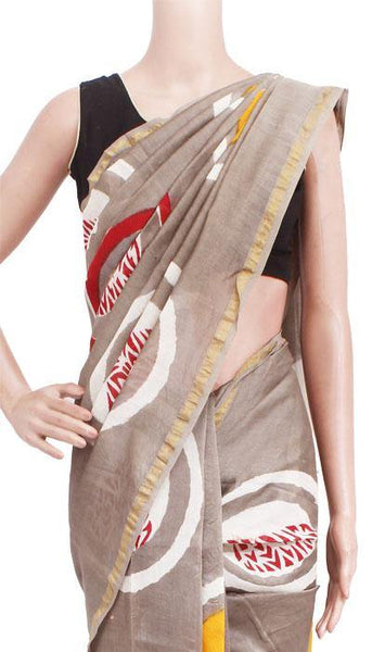 Chanderi Silk Saree pattern with Zari Border for all-time use (41126A), Sarees - Swadeshi Boutique