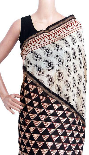 Chanderi Silk Saree pattern with Zari Border for all-time use (41128A), Sarees - Swadeshi Boutique