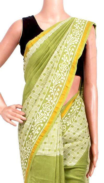 Chanderi Silk Saree pattern with Zari Border for all-time use (41134A), Sarees - Swadeshi Boutique