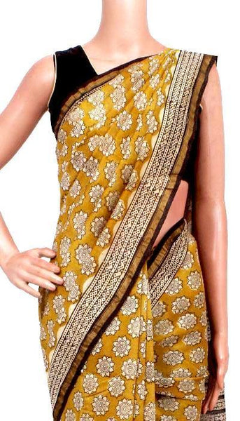 Chanderi Silk Saree pattern with Zari Border for all-time use (41138A), Sarees - Swadeshi Boutique