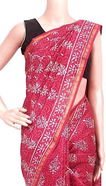 Chanderi Silk Saree pattern with Zari Border for all-time use (41142A), Sarees - Swadeshi Boutique