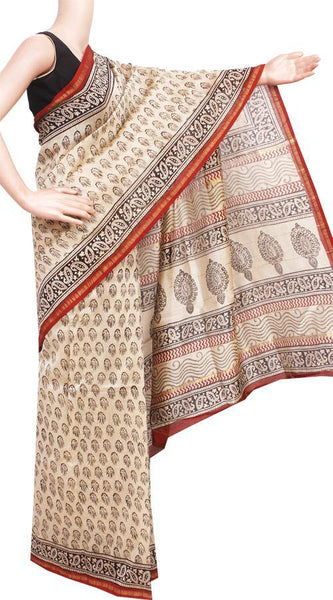 Chanderi Silk Saree pattern with Zari Border for all-time use (41143A), Sarees - Swadeshi Boutique