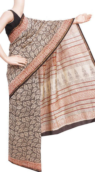 Chanderi Silk Saree pattern with Zari Border for all-time use (41144A), Sarees - Swadeshi Boutique