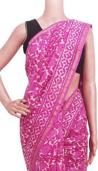 Chanderi Silk Saree pattern with Zari Border for all-time use (41147A)