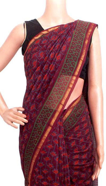 Chanderi Silk Saree pattern with Zari Border for all-time use (41148A), Sarees - Swadeshi Boutique