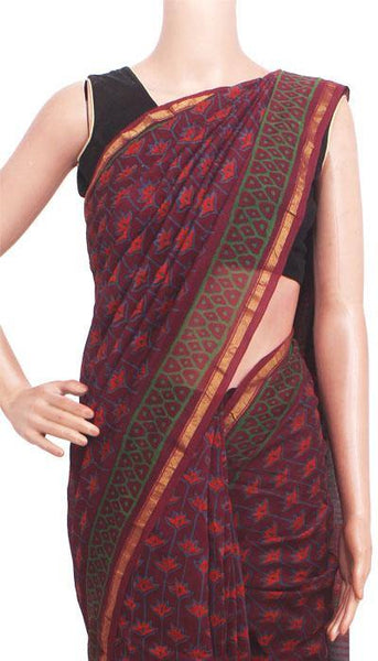 Chanderi Silk Saree pattern with Zari Border for all-time use (41148A)