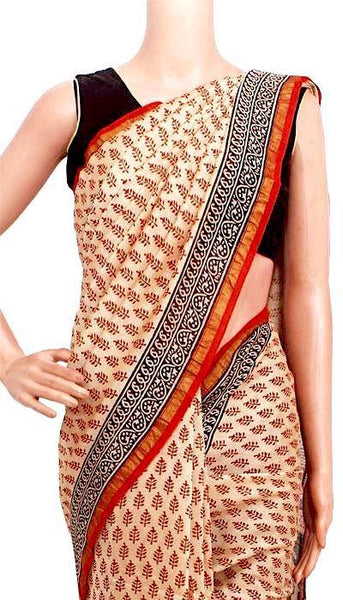 Chanderi Silk Saree pattern with Zari Border for all-time use (41154A), Sarees - Swadeshi Boutique