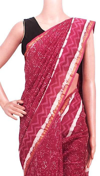 Chanderi Silk Saree pattern with Zari Border for all-time use (41158A)