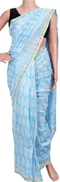 Chanderi Silk Saree pattern with Zari Border for all-time use (41171A), Sarees - Swadeshi Boutique