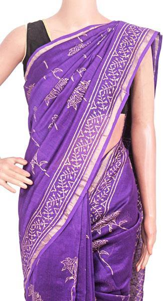Chanderi Silk Saree pattern with Zari Border for all-time use (41174A)