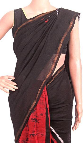 Chanderi Silk Saree pattern with Zari Border for all-time use (41175A), Sarees - Swadeshi Boutique