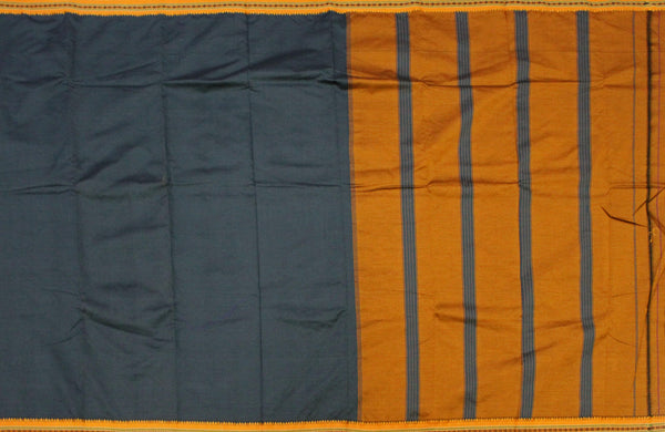 * Maasi SALE *  Beautiful Dharwad poly cotton sarees with attractive border and pallu - Black with Mustard (42001A)