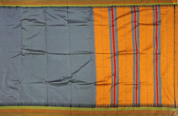 * Flash Sale * Beautiful Dharwad poly cotton sarees with attractive border and pallu - Grey with Mustard (42004A)