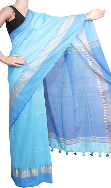 *New Arrival* Khadi cotton saree with silk temple border (Maheswari Sarees) - 44006A
