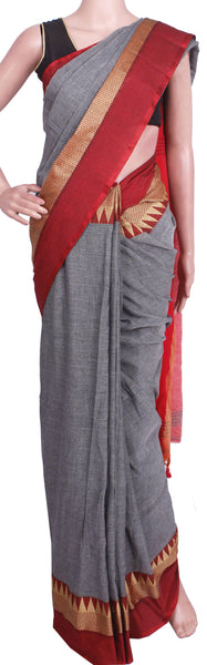 *New Arrival* Khadi cotton saree with silk temple border (Maheswari Sarees) - 44010A, Sarees - Swadeshi Boutique