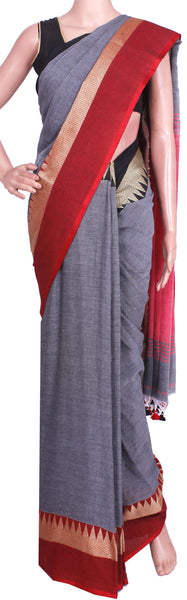 *New Arrival* Khadi cotton saree with silk temple border (Maheswari Sarees) - 44010B