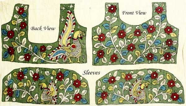 Hand Painted Pen Kalamkari Blouse material with Florals and Peacock cotton (Green)(45007A) (front/back/sleeves)