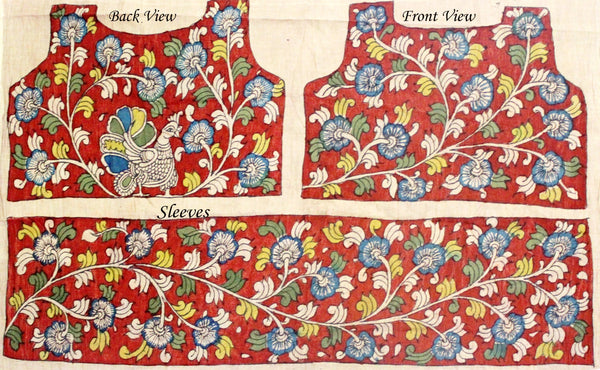 Hand Painted Pen Kalamkari Blouse material with Florals and Peacock (Red)(45012A) (front/back/sleeves)