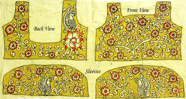 Hand Painted Pen Kalamkari Blouse material with Florals and Peacock (Yellow)(45028A) (front/back/sleeves)