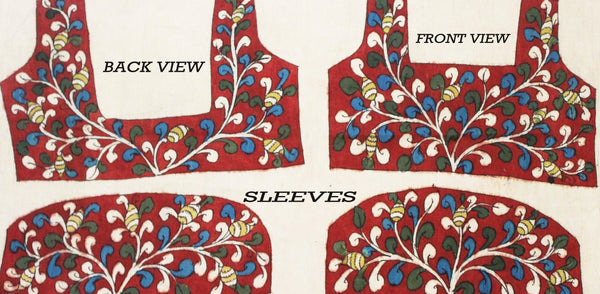 Hand Painted Pen Kalamkari Blouse material with Florals and Peacock (Red)(45054A) (front/back/sleeves)