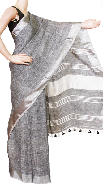 Linen Saree with self design in pallu [grey silver]- 47007A, Sarees - Swadeshi Boutique