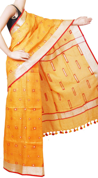 Beautiful Linen Saree with Putta in all over the saree  with matching blouse material  - 47008A