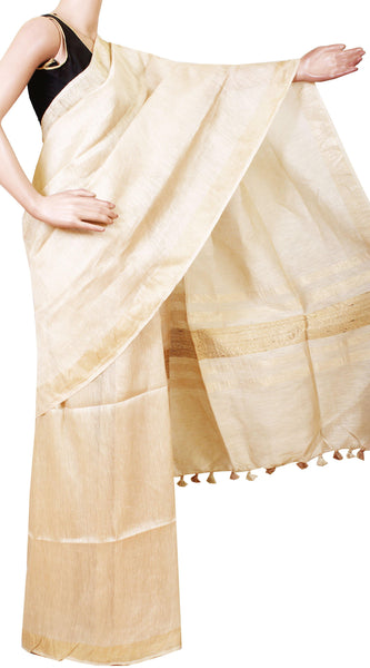 Beautiful Linen Saree (Kerala style) with Tissue Pattern[Beige] with matching blouse material - 47010A [No Shipping or COD charges]