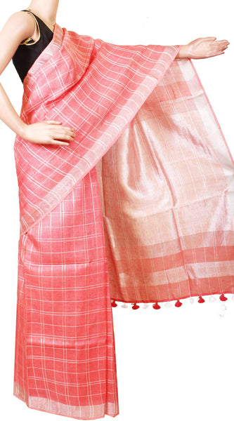 Beautiful Linen Saree with self design in pallu [Pink] with matching blouse material - 47011A [No Shipping or COD charges]