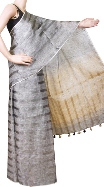 Beautiful Linen Saree with self design in pallu [Ash] with matching blouse material - 47012A