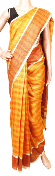 Linen Saree with self design in pallu with matching blouse material - 47013A, Sarees - Swadeshi Boutique