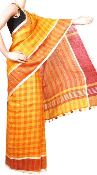 Beautiful Linen Saree with self design in pallu with matching blouse material - 47013A [No Shipping or COD charges]