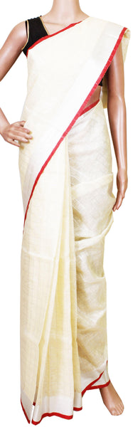Beautiful Linen Semi Jute Saree (Kerala style) with Handwork [Beige] with attached contrasting blouse - 47014A [No Shipping or COD charges]