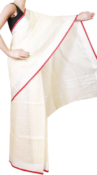 Linen Semi Jute Saree (Kerala style) with Handwork [Beige] with attached contrasting blouse - 47014A, Sarees - Swadeshi Boutique