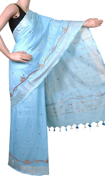 * Intro offer Rs.100 off * Beautiful Linen Saree with Mirror Work and a matching blouse material - 47018A [No Shipping or COD charges]