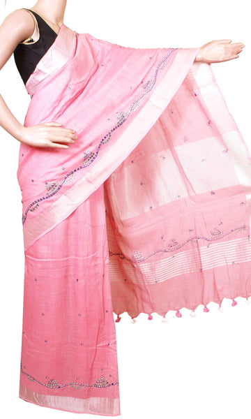 * Intro offer Rs.100 off * Beautiful Linen Saree with Mirror Work and a matching blouse material - 47018C [No Shipping or COD charges]