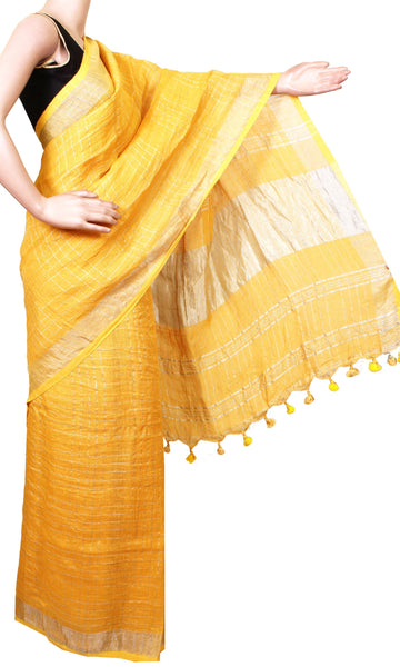 Beautiful Linen Saree with self design in pallu [Mustard] - 47021A [No Shipping or COD charges]