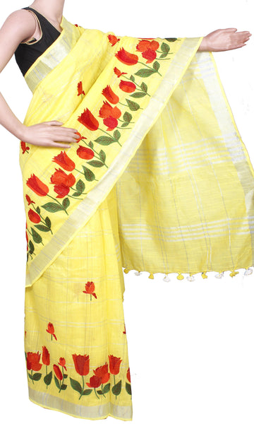 * New arrival * Beautiful Linen Saree with Beautiful Embroidery Work [Yellow] - 47023B [No Shipping or COD charges]