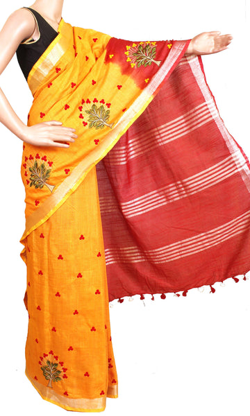 Beautiful double shaded Linen Saree with Embroidery Work and a matching blouse material - 47025B [No Shipping or COD charges]