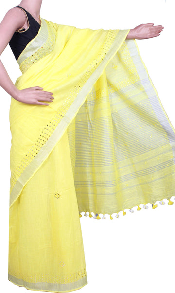 Beautiful Linen Saree with Mirror Work and a matching blouse material - 47026E [No Shipping or COD charges]