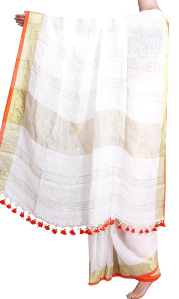 Linen Saree with self design in pallu [White]  - 47029A * Sale 49% Off * - Swadeshi Boutique